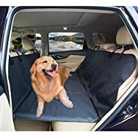 Amochien 犬用バックシートブリッジ ペットカーシートカバー - トラック、SUV、フルサイズのセダンに最適 ペットヘビーデューティー 犬用バックシートエクステンダー 犬用プラットフォーム 防水