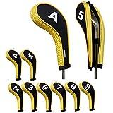 Andux 番手プリント ゴルフ アイアンカバー ファスナー付き ロングネック 10個/セット 黄色/ブラック