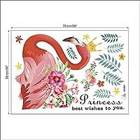 Dtcrzj フラミンゴ王女葉植物花ウォールステッカー家の装飾リビングルームの装飾アクセサリー壁画Pvc動物壁Diy 35×37インチ