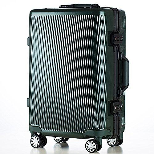 (トラベルハウス)TRAVELHOUSE 軽量アルミフレーム スーツケース キャリーケース キャリーバッグ TSAロック搭載 一年間修理保証 超軽量 フレーム T1119 (M, ブラックグリーン)