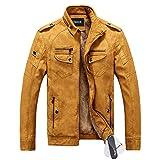 Zicac ジャケット アウターウェア コート 暖か裏起毛 長袖 PUレザー ビジネスジャケット 4色 ファッション メンズ・ボーイズジャケット (L, イエローオークル)