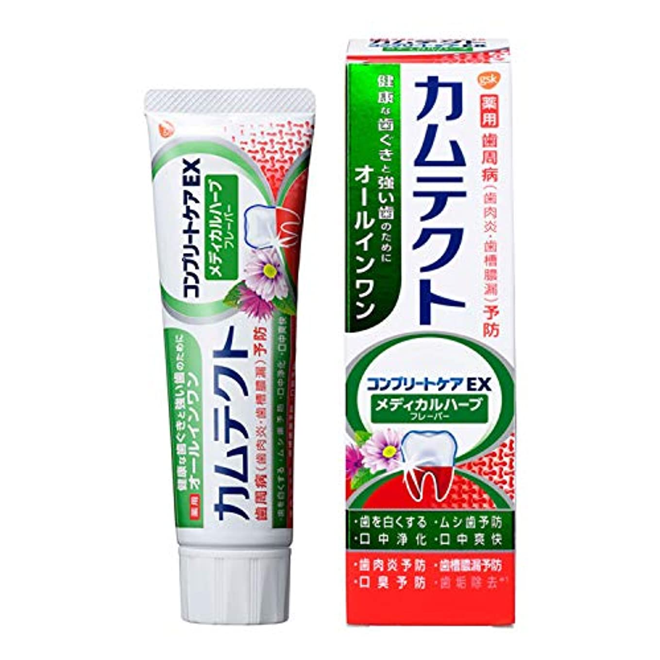 消化器積極的に画面[医薬部外品] カムテクト コンプリートケアEX メディカルハーブフレーバー 歯磨き粉 105g 1個