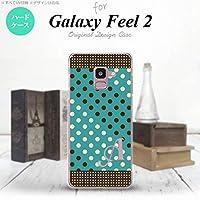 SC-02L Galaxy Feel2 スマホケース カバー ドット・水玉 青緑×茶 【対応機種:Galaxy Feel2 SC-02L】【アルファベット [Q]】