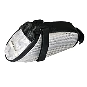 ZhiHu サドルバッグ 自転車 夜に光るサドルバッグ 防水 リフレクター かんたん装着 (ホワイト)