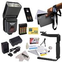 専用e-ttlのスピードライトフラッシュキットNikon d3100, d3200, d5100, d5200, d5300デジタル一眼レフカメラIncludes Vivitar df-293TTL LCD Bounceズームフラッシュwith LCD表示+バランス参照グレーカードセット+回転フラッシュブラケットwithグリップ+ Extended Life Battery for the Nikon en-e142000mAh + 1時間AC / DCバッテリー充電器+ AA充電式電池&充電器+ワイヤレスシャッターリリースリモートコントロールフォト印刷