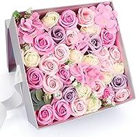 Yobansa 造花 高級石鹸の花のギフトボックス フレグランス ソープフラワー プレゼント 石鹸 ひまわり 枯れない 花 結婚祝い 誕生日 母の日 父の日 定年祝い 還暦祝い 新築祝い 送別会 メッセージカード付き (ピンク)