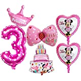 BCD-PRO 3rd Birthday Mickey Mouse Balloons for Girl 6 pcs - Party Supplies - Ribbons included