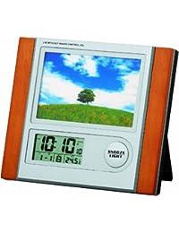 ADESSO(アデッソ) 電波デジタル目覚まし時計 フォトフレーム付き 温度表示 ブラウン C-8297