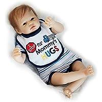 青い目22インチ55 cm Rebornベビー人形Lifelikeシリコン赤ちゃん人形磁気口新生児男の子おもちゃキッズ誕生日クリスマスギフト