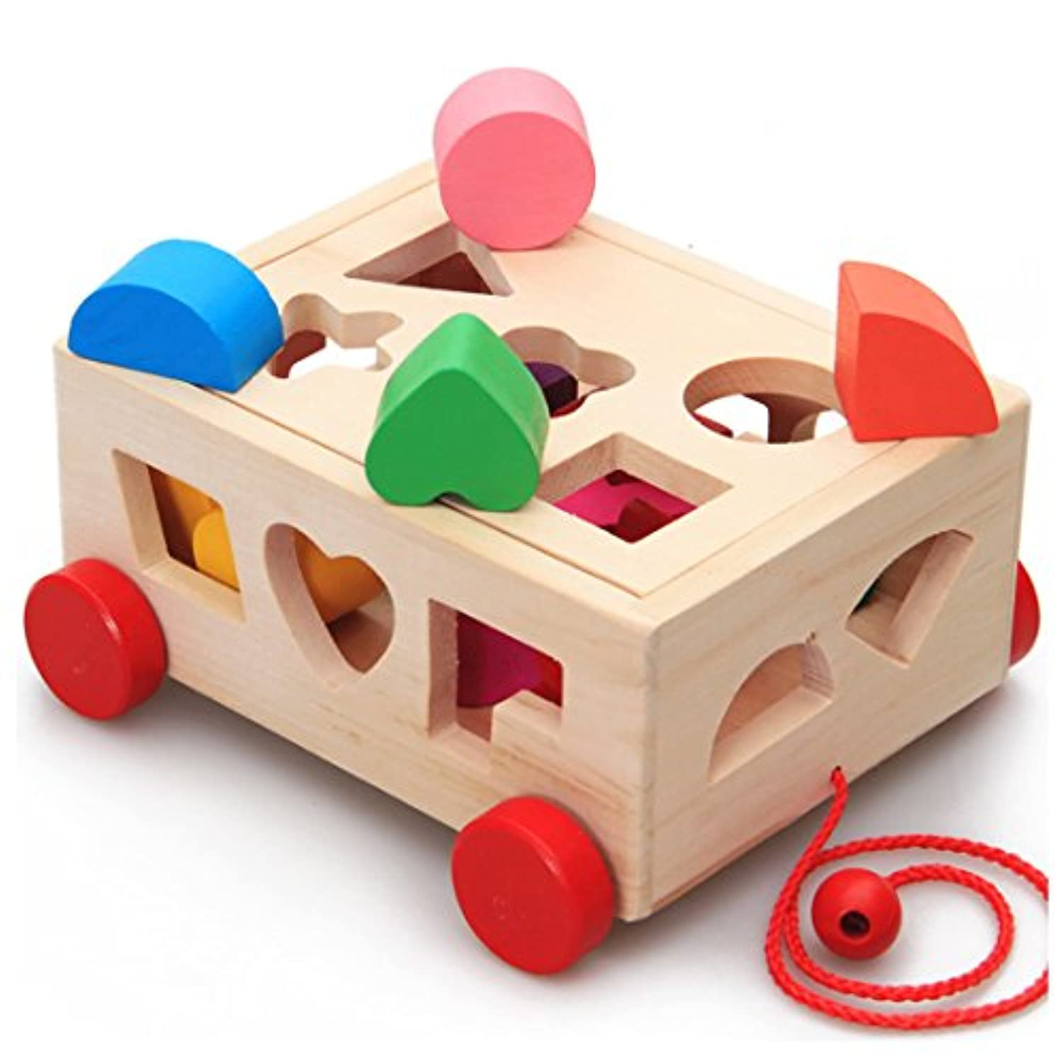 SMATTER Wooden Shape Sorting Box Cart, 15 Hole Cube For Shape Sorter Cognitive And Matching Wooden Toys