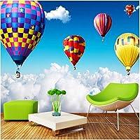 Xbwy 3D壁壁画空気雲の上の熱気球子供のための写真の壁紙子供の寝室の壁紙家の装飾-150X120Cm