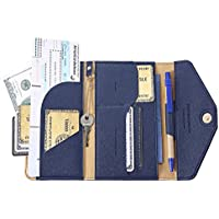 IVESIGN Travel Passport Wallet Trifold Envelope Document Organizer Holder with Free Pen