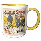 3drose BLNヴィンテージ自転車広告ポスター–La Chaine Simpsonフランス自転車広告ポスター–マグカップ 11-oz Two-Tone Yellow Mug mug_153186_8