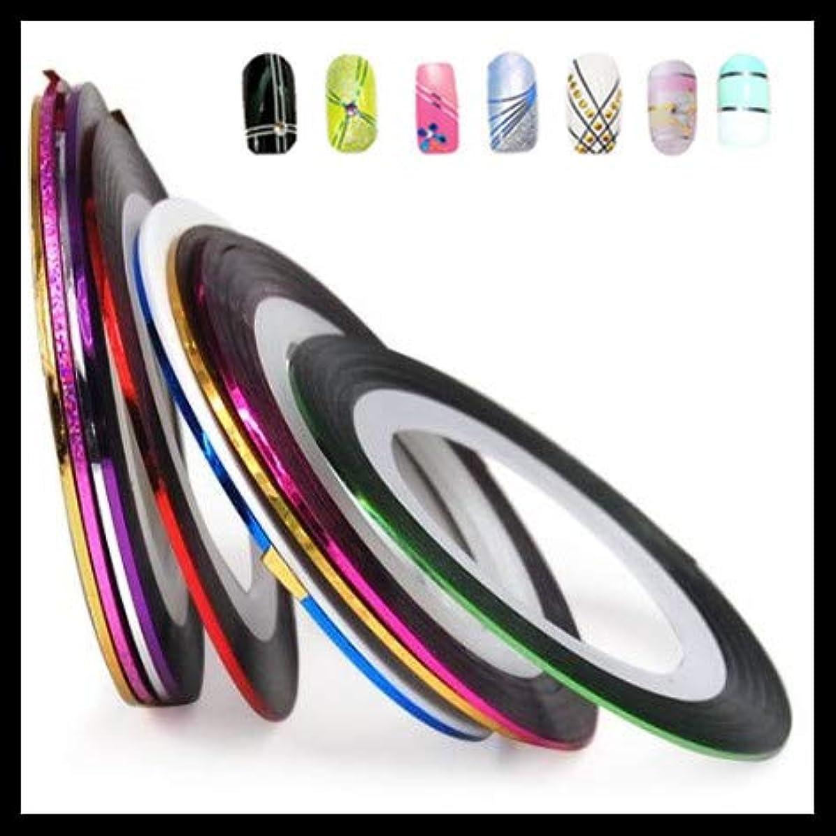 不適先のことを考える無心SUKTI&XIAO ネイルステッカー 20ミックスカラーロールストライピングテープ金属糸ラインネイルアート装飾ステッカー