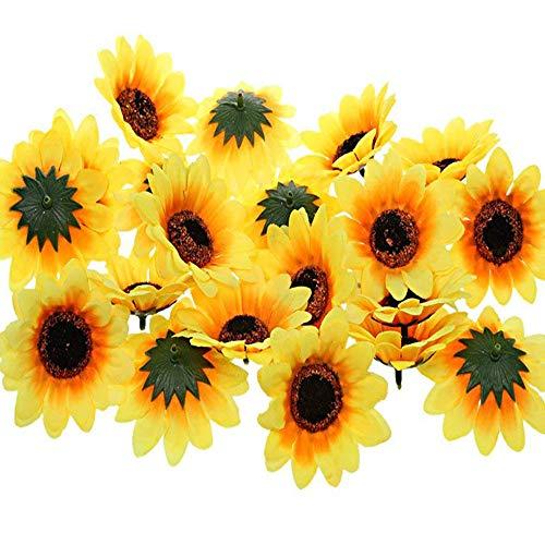 Yesallwas ひまわり 造花 60個セット 直径約7cm 人工観葉植物 枯れない花 人工花 飾りつけ ディスプレイ ハンドメイド かわいい りラシルク造花 (60個セット)