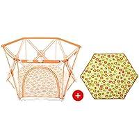 ポータブルベイビーPlaypen男の子女の子キッズ6パネルマット安全再生センターヤードホーム屋内屋外多目的 (色 : Orange Playpen+mat)