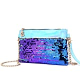レディース アンサンブル (Blue) - cool nik Mermaid Sequin Shoulder Bag, Women's Quilted Mermaid Sequin Cross-body Bag Girls Purse & Handbags Chain Small Messenger Bag