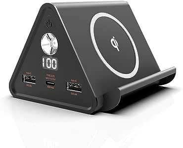 cheero Power Mountain mini 30000mAh with Power Delivery ( パワーデリバリー ) 60W モバイルバッテリー 大容量 4ポート出力 ( USB-C / USB-A×2 / Wireless ) AUTO-IC搭載 PSEマーク付 CtoCケーブル付 CHE-111 (Black)