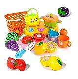 シンプルファン おままごと シミュレーション料理おもちゃ 調理セット クッキングセット バスケット入り 切れる 果物セット まな板 ほうちょう ガスレンジでたのしくお料理しましょ!