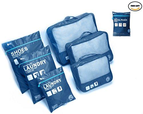 GUIQI(グイキ)トラベルポーチ セット7pcs アレンジケース 軽量 防水 旅行 出張 整理用 (ブルー)