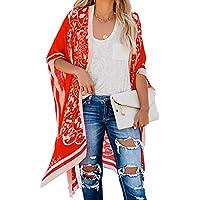 momolove Women's Beach Swimwear Cover Up Kimono Loose Tops Floral Blouse Cardigan