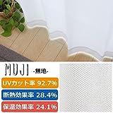 日本製 UVカット率90% レースカーテン「UVプロテクション」【UNI】(既製品)ムジ(#9811729)100×198cm2枚組 遮熱 ミラー加工