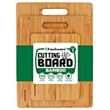 Freshware Bamboo 3 Piece Cutting Boards | 3 Layered 100% Premium Organic Bamboo | Durable Bamboo Set For Meat, Vegetables, Fruit Or Bread | Anti-Microbial Bamboo Chopping Boards & Serving Tray
