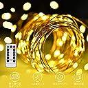 LED イルミネーションライトurlife LEDストリングスライト 100球 10m 8種光るパターン 電池式 防水 フェアリーライト タイム設定付 調光可能 リモコン付属 屋内 屋外兼用 新年 バレンタインデー プレゼント (銅線ウォームホワイト)