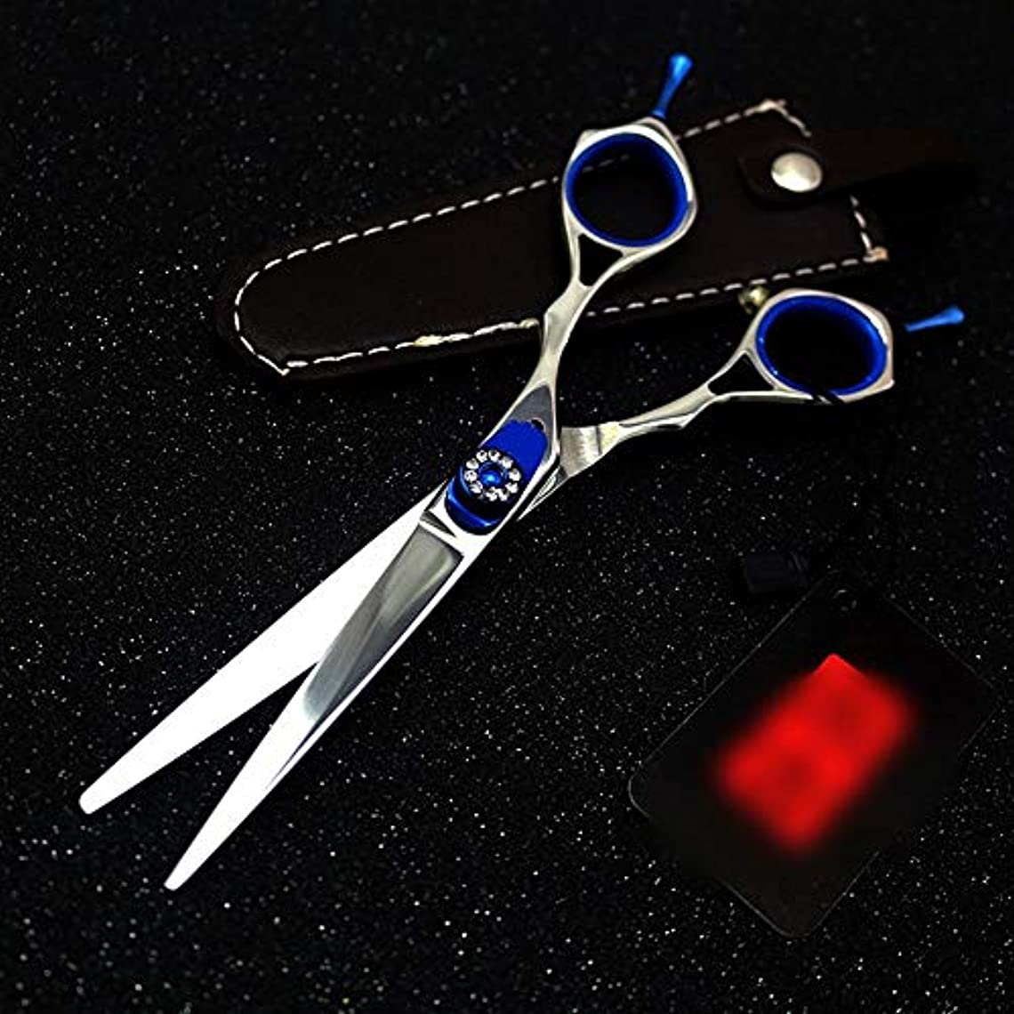 ほこりジュニアマスク6インチプロフェッショナル両面理髪はさみ、宝石用原石理髪プロフェッショナルはさみ ヘアケア (色 : 青)
