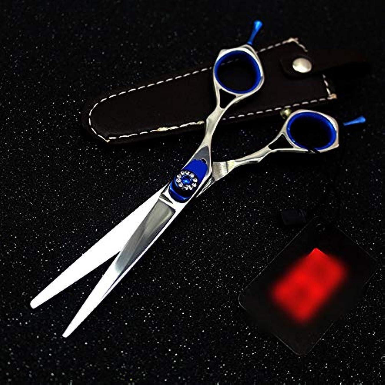 明らかにスモッグ過剰6インチプロフェッショナル両面理髪はさみ、宝石用原石理髪プロフェッショナルはさみ モデリングツール (色 : 青)