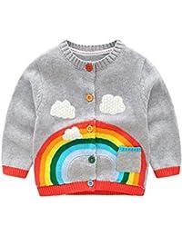 Mornyray ベビー服 カーディガン ニット 子供 女の子 長袖カーデ 刺繍 おしゃれ 幼児 1-5歳 size 80 (グレー)