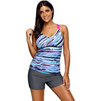 SailBee Women's Ruched Tankini Swimsuit Rash Guard Top