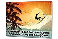 カレンダー Perpetual Calendar Fun Surf riders Tin Metal Magnetic