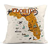 """Decor Flax Throw Pillow Covers Case Cartoon of Florida Map with Tourist Attractions Travel Miami Drawn Hand Orlando""""x"""" Square Linen Cases Cushion Cover One Side Print 18 x 18 Inch 45 x 45 cm"""