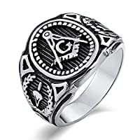 Anazoz ステレンス メンズ 指輪 アクセサリー シルバー クラシック G パンク ワンポイント レトロ クリスマス 人気贈り物 サイズ 26