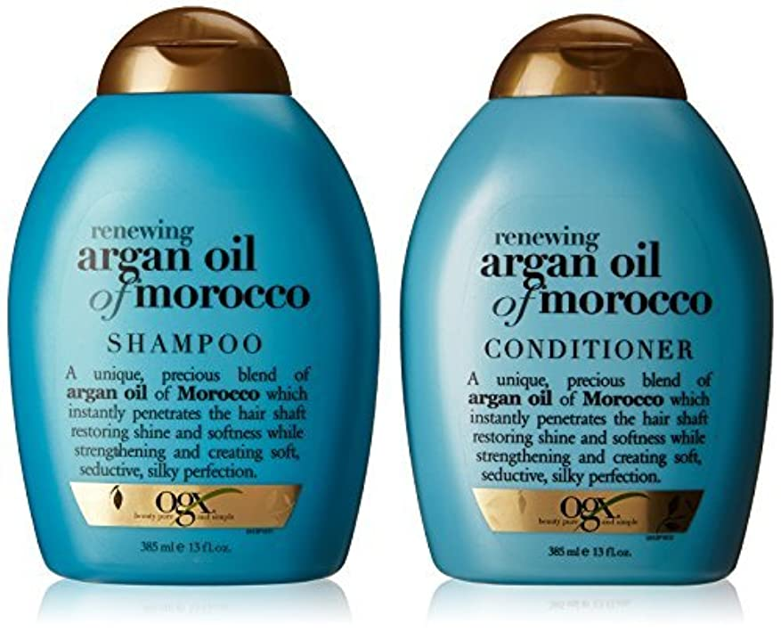 タオル読書をするガラスOGX Renewing Argan Oil of Morocco Shampoo & Conditioner (13 fl. Oz.) [並行輸入品]