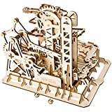 ROBOTIME Marble Run-3d Wooden Puzzle Game-Waterwheel Home Decoration Building Set