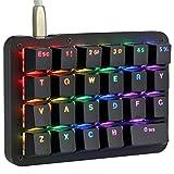 フルプログラム可能 メカニカルキーボード カスタマイズ自在 左手ゲーミングキーボード 23キー マクロキー RGBバックライト 片手 小型キーボード ショットカットキー プログラマー向き DIYキーボード (赤軸 RGB(ブラック))