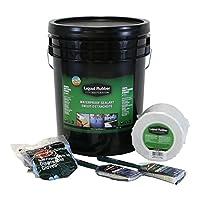 液体ゴム防水シーラント 5Gキット - オリジナルブラック - 5gのペール、液体ゴム4インチx 50フィートの継ぎ目テープ、ブラシ、手。