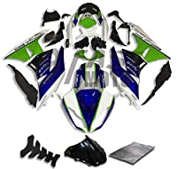 9FastMoto kawasaki カワサキ 2009 2010 2011 2012 ZX6R ZX-6R Ninja 636 09 10 11 12 用フェアリング オートバイフェアリングキット ABS 射出成形セット スポーツバイク カウル パネル (グリーン & ブルー) K0493