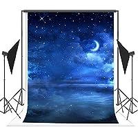 1.5x2.1m 夏の夜に撮影は背景の布を使います 青い星空の月の写真の背景の布は子供に使いをあげます