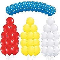 ライトブルー水玉 レッドホワイト&イエローラテックスバルーンキット – 48個入りバースデーパーティーデコレーション用品