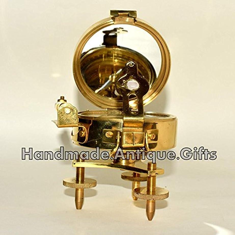 設計図考古学パイプ新しいアンティーク真鍮Brunton Compass withスタンドレベルVitage Nautical Compassギフト