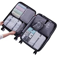 Hqeupiao 8Pcs Set Travel Storage Bags Clothes Packing Cubes Luggage Organizer Pouch