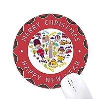 ハートの形の赤い電話ボックスは、英国ロンドン英国 円形滑りゴムのクリスマスマウスパッド