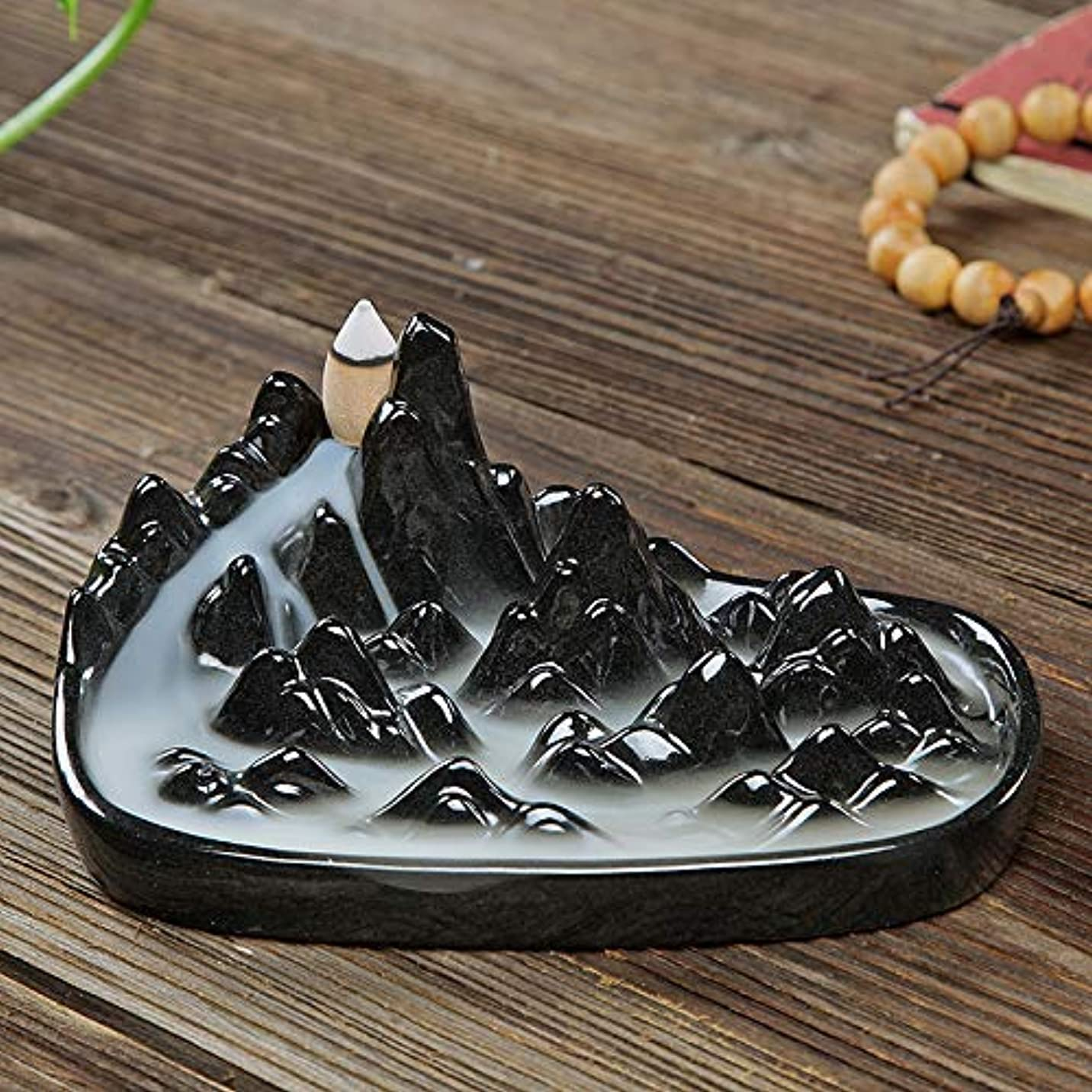 適応する風攻撃的PHILOGOD 逆流香炉 手作り山川風景モデリング香立て 香皿/香置物 (black)
