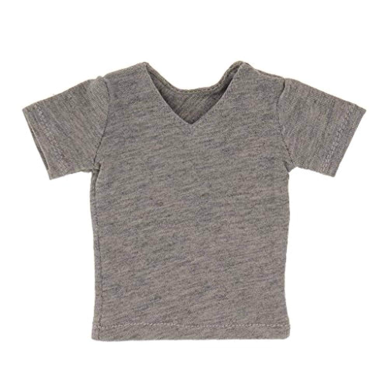 【ノーブランド品】綿製 1/6 12インチ 半袖Tシャツ 男性 アクションフィギュア用 人形 ボディおもちゃ 飾り 贈り物 3色選べ - グレー