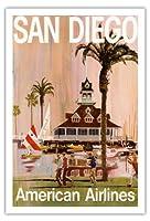 サンディエゴ - アメリカン航空 - アメリカン航空 - ビンテージな航空会社のポスター によって作成された V. K. c.1970 - アートポスター - 76cm x 112cm