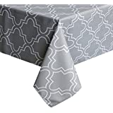 "UFRIDAY Light Grey Tablecloth 60"" by 120"" for Rectangle Tables, Spillproof Table Cloth with Pattern Printed"