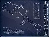 "Pebble Beachゴルフリンク青写真スタイル印刷 18""H x 24""W GOLF-004-U"